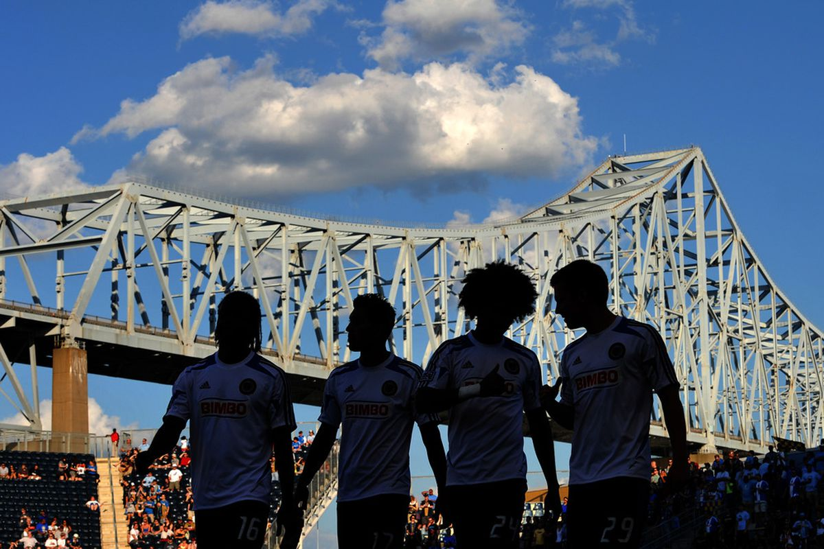 CHESTER, PA- JUNE 23: Philadelphia Union substitutes walk onto the pitch before the match against Sporting Kansas City at PPL Park on June 23, 2012 in Chester, Pennsylvania. The Union won 4-0. (Photo by Drew Hallowell/Getty Images)