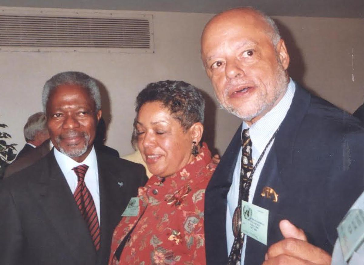 Then-U.N. Secretary-General Kofi Annan (from left) with Alice and Buzz Palmer.