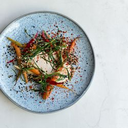 Carrot, smoked cod's roe, Dulwich monk's beard, candied sesame