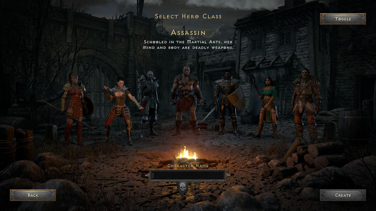 Diablo 2: Resurrected's character select screen