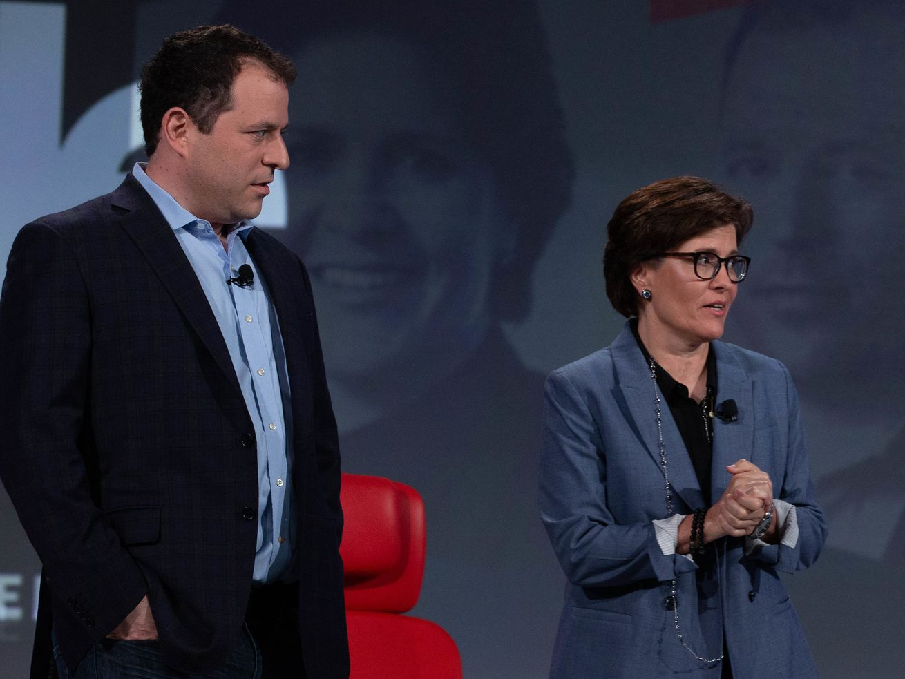Recode Executive Editor Peter Kafka, left, and Recode Editor at Large Kara Swisher