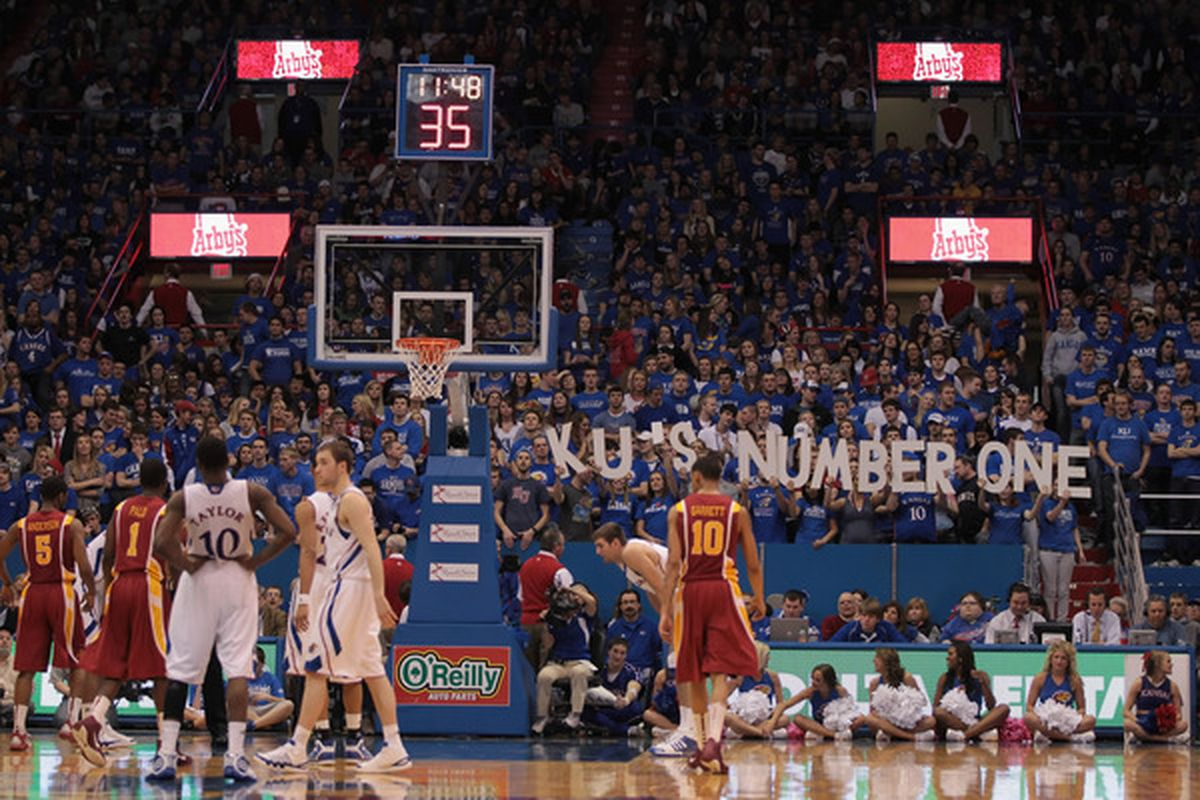 LAWRENCE KS - FEBRUARY 12:  Fans display a message during the game between the Kansas Jayhawks and the Iowa State Cyclones on February 12 2011 at Allen Fieldhouse in Lawrence Kansas.  (Photo by Jamie Squire/Getty Images)