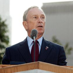 FILE - In this Sept. 11, 2011 file photo, New York Mayor Michael Bloomberg speaks during a ceremony marking the 10th anniversary of the attacks on the world Trade Center at the National September 11 Memorial in New York. For the first time, elected officials won't be allowed to speak Tuesday, Sept. 11, 2012, at  an occasion that has allowed them a solemn turn in the spotlight, a change made in the name of avoiding politics, but rapped by some as a political move in itself.