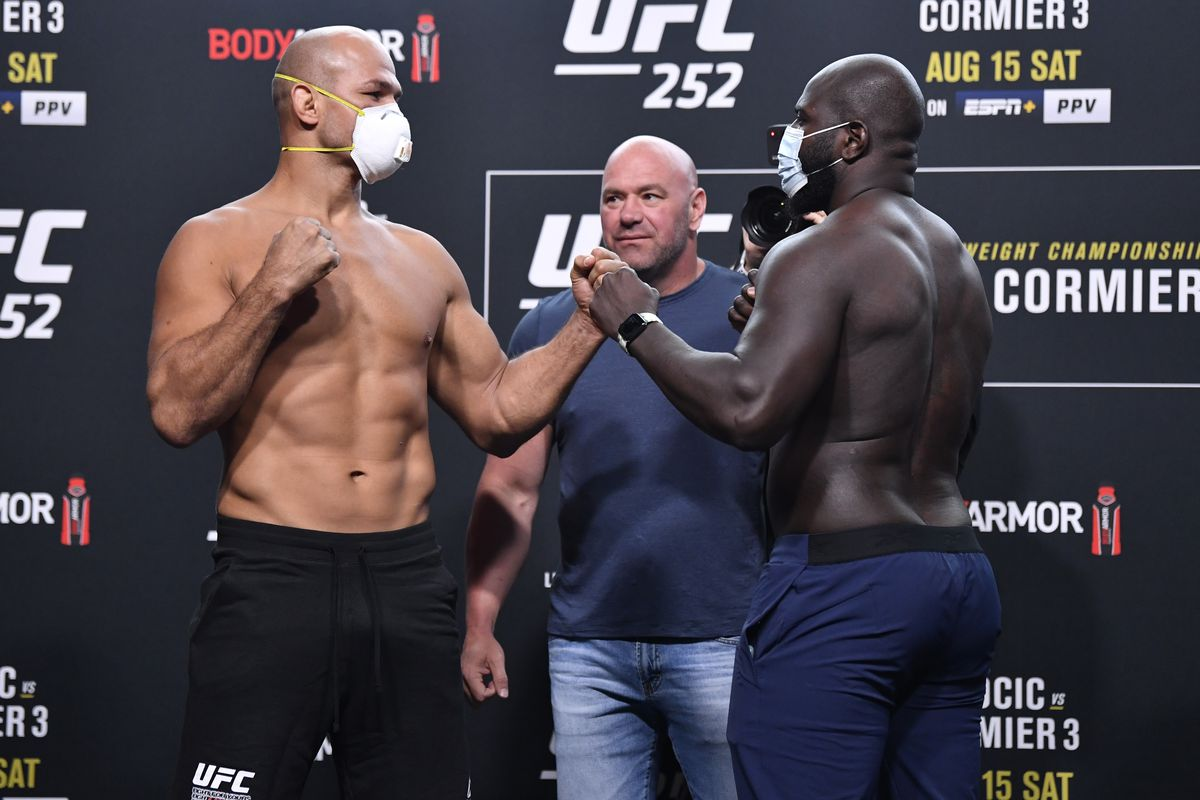 Opponents Junior Dos Santos of Brazil and Jairzinho Rozenstruik of Suriname face off during the UFC 252 weigh-in at UFC APEX on August 14, 2020 in Las Vegas, Nevada.