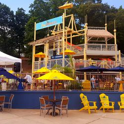 """Remember Lanier Islands' """"Fun Dunker?"""" Well, now it's called the """"Fin Dunker."""" The slide inside is still operational, although the old overflowing bucket has been removed from the top."""
