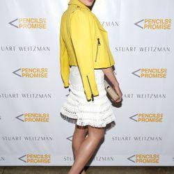 Olivia Culpo in a Victoria Beckham jacket, Jonathan Simkhai dress, Stuart Weitzman sandals, and a Mansur Gavriel bag at the launch of Stuart Weitzman's partnership with Pencils Of Promise.