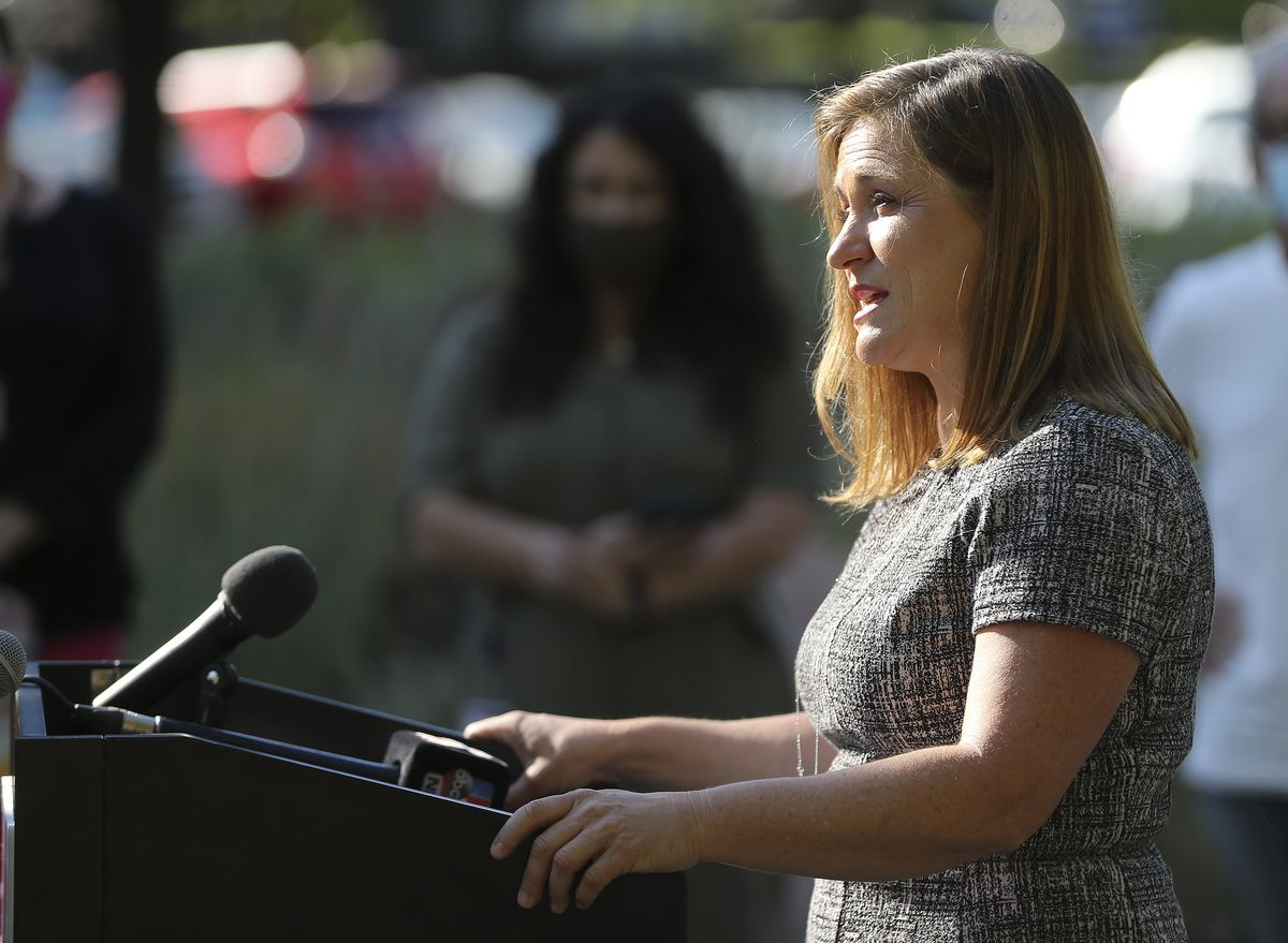 Salt Lake County Mayor Jenny Wilson speak during a press conference in Salt Lake City on Tuesday, July 28, 2020, about expanding the Small Business Impact Grant program to a variety of businesses hurt by COVID-19.