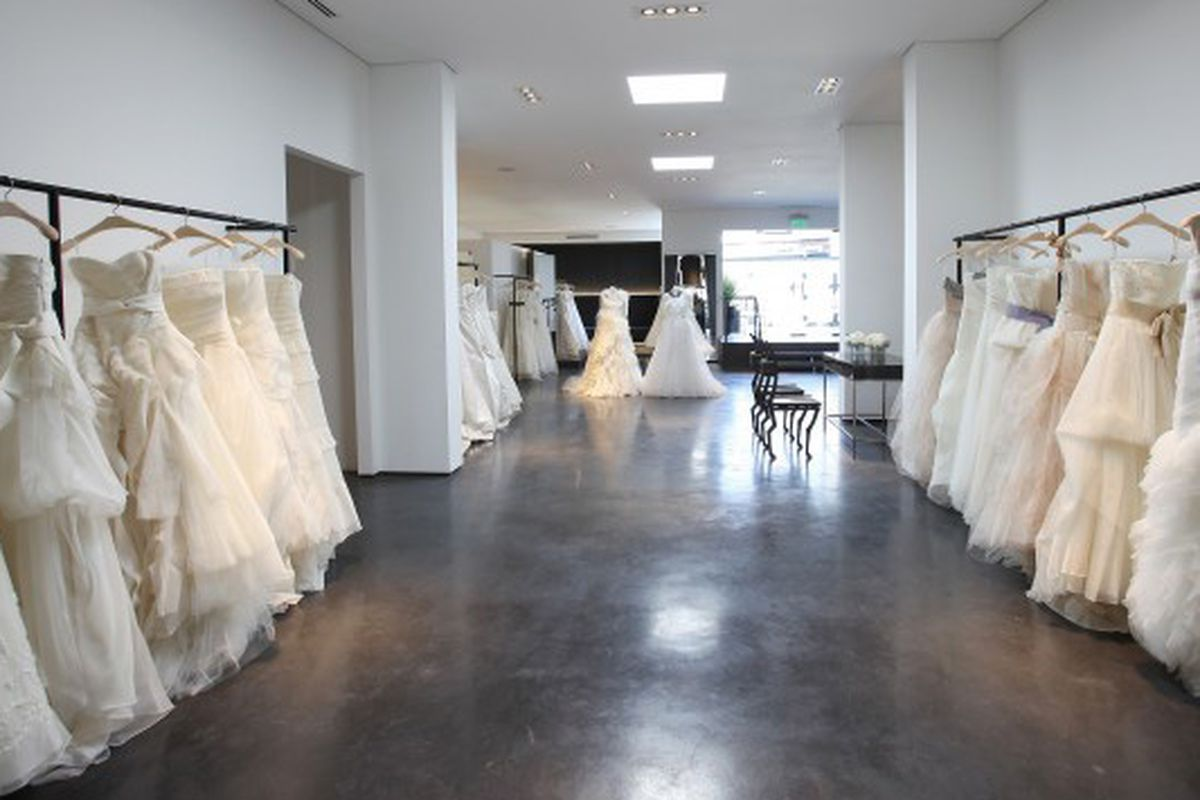 """Gowns at Vera Wang's <a href=""""http://la.racked.com/archives/2014/04/03/behave_brides_vera_wangs_rodeo_drive_boutique_opens_sat.php"""">former</a> Melrose shop."""