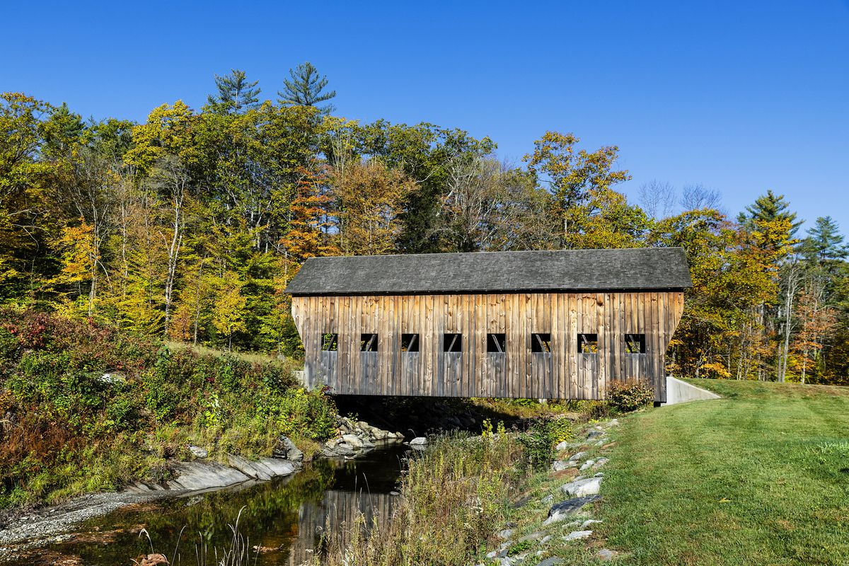 Rustic covered bridge at Reading in Vermont.