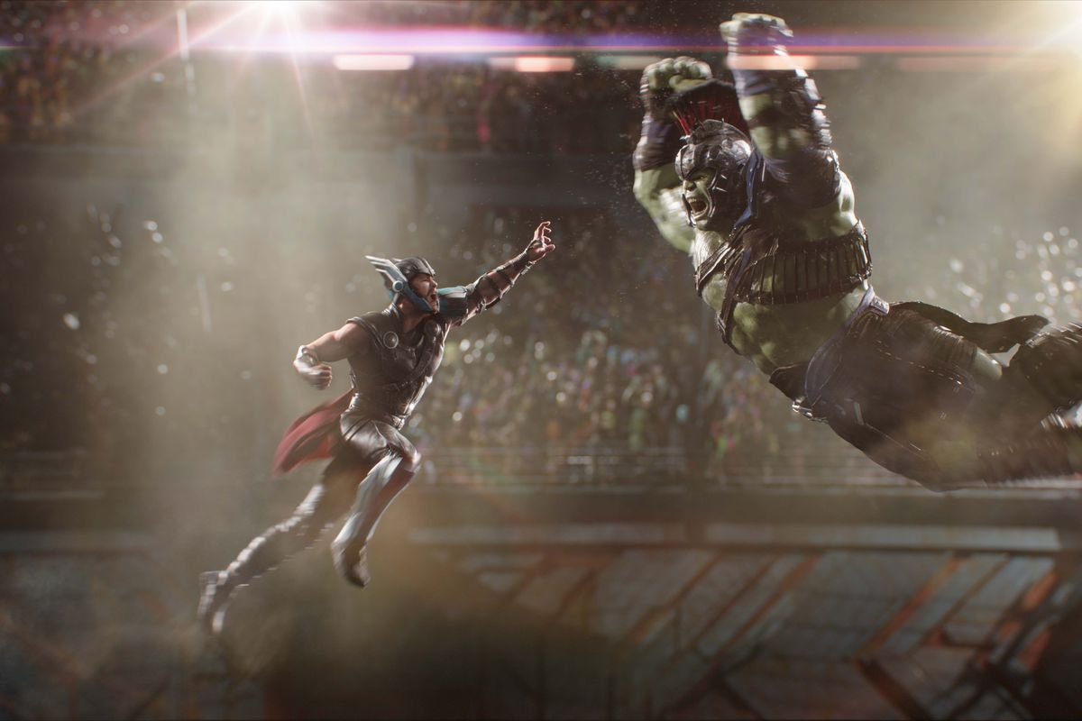 Thor and Hulk jump into the air to smash each other in Thor: Ragnarok