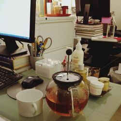 My favorite Fresh PR Director's desk! We discussed our trip to China last month and her new habit of desk-side tea brewing—a good idea to boost up on extra antioxidants and tannins at the time when your body needs it the most. If you can, grab loose tea r