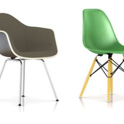 """<b>The Steal:</b> After a long hiatus, Herman Miller has re-released their famous fiberglass shell chairs, and the company has also introduced a new upholstered shell option to add more comfort to the ergonomically molded seat. """"These chairs are a bargain"""