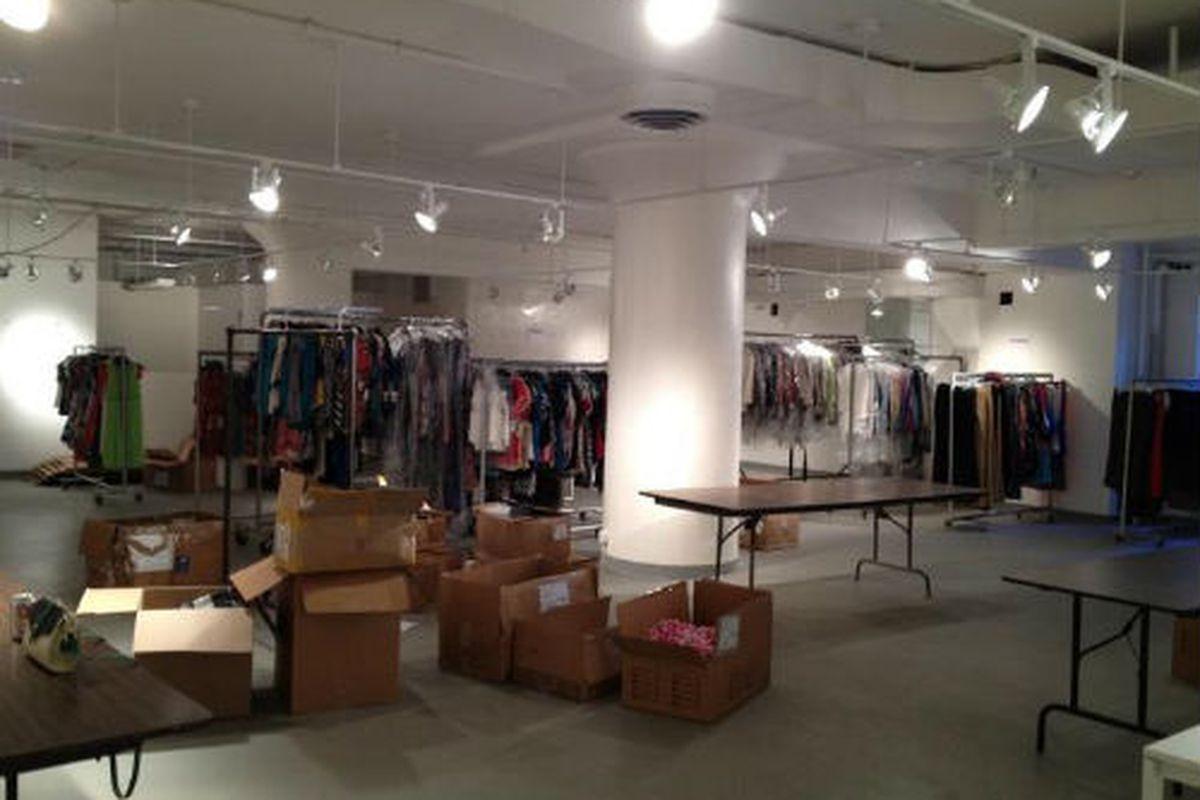 "The sale, mid setup. Photo via The Fashion Industries Guild of Cedars-Sinai/<a href=""http://www.facebook.com/photo.php?fbid=10150944555310867&amp;set=a.10150844559855867.472400.166239585866&amp;type=1"">Facebook</a>."