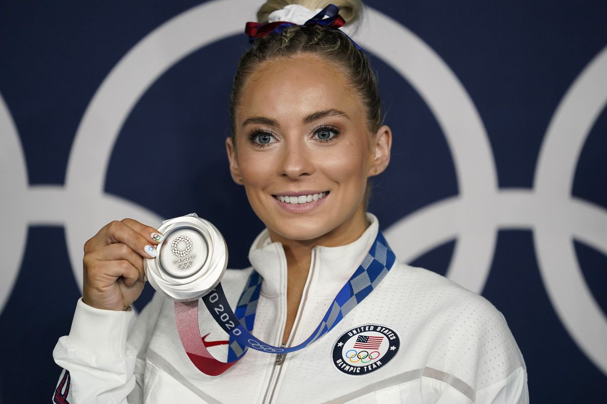MyKayla Skinner poses for a photo with her silver medal for vault at the 2020 Summer Olympics, Sunday, Aug. 1, 2021, in Tokyo, Japan.