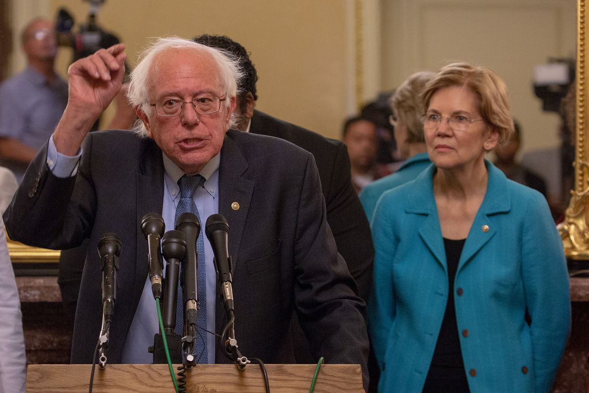 Elizabeth Warren and Bernie Sanders Holds Press Conference Opposing Supreme Court Nominee Kavanaugh. Brown's main competition would be other populists who have already joined the race.