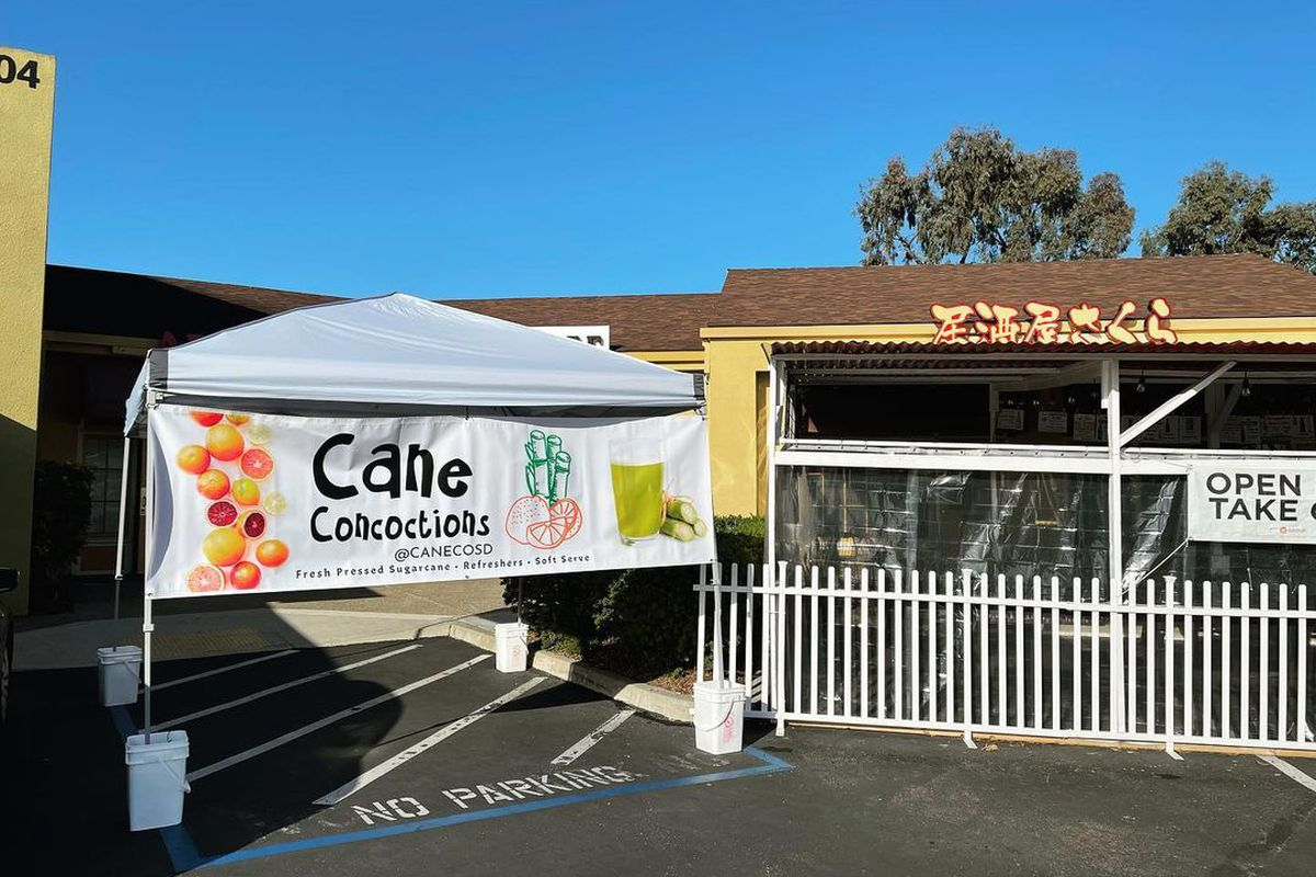 Cane Confections pop-up tent on Convoy Street