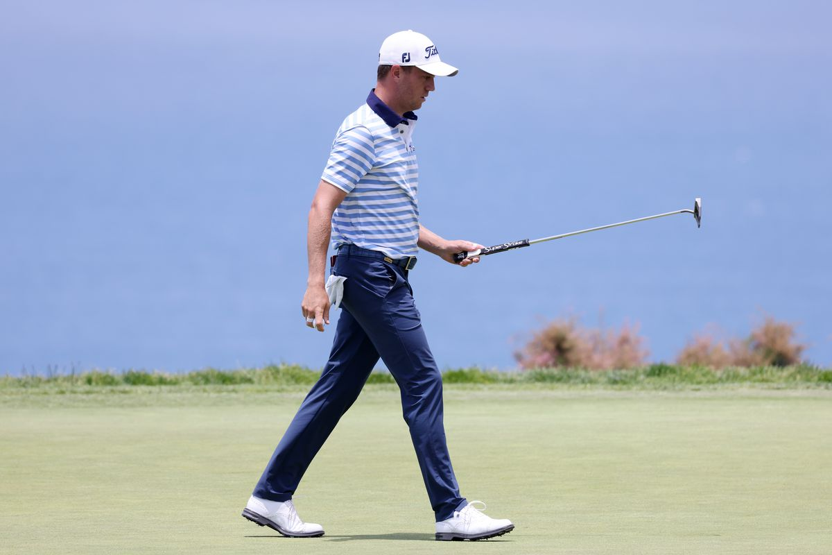 Justin Thomas of the United States reacts to a par-saving putt on the fourth hole during the first round of the 2021 U.S. Open at Torrey Pines Golf Course (South Course) on June 17, 2021 in San Diego, California.
