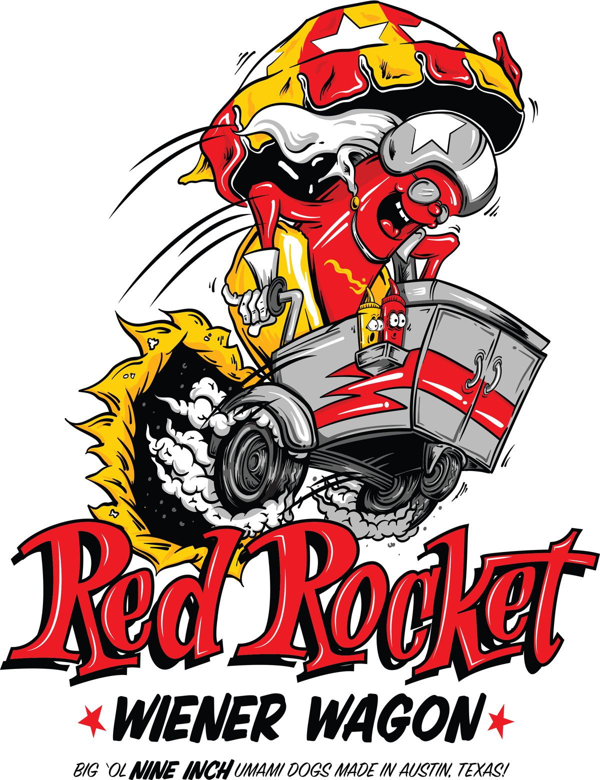 The logo for Red Rocket Wiener Wagon