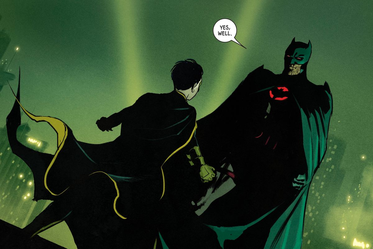 Damian Wayne/Robin and and the Thomas Wayne/Batman of an alternate timeline, confront eachother on a Gotham rooftop in Batman #77, DC Comics (2019).
