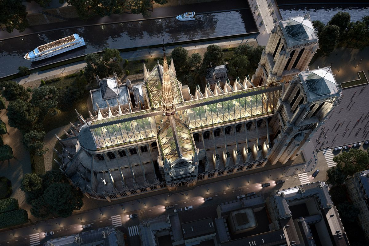 Notre Dame Rebuild Concept Is All Glass Wood And Trees