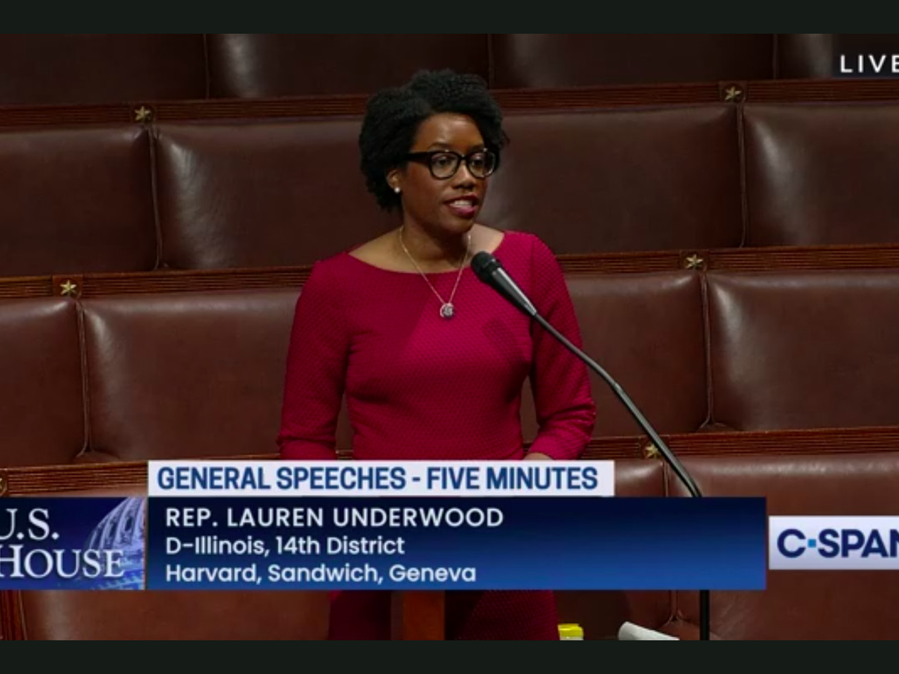 """Rep. Lauren Underwood, an Illinois Democrat, said in a House floor speech Wednesday that GOP rival Jim Oberweis """"joined the former president in making baseless allegations of fraud and conspiracy"""" in their election."""