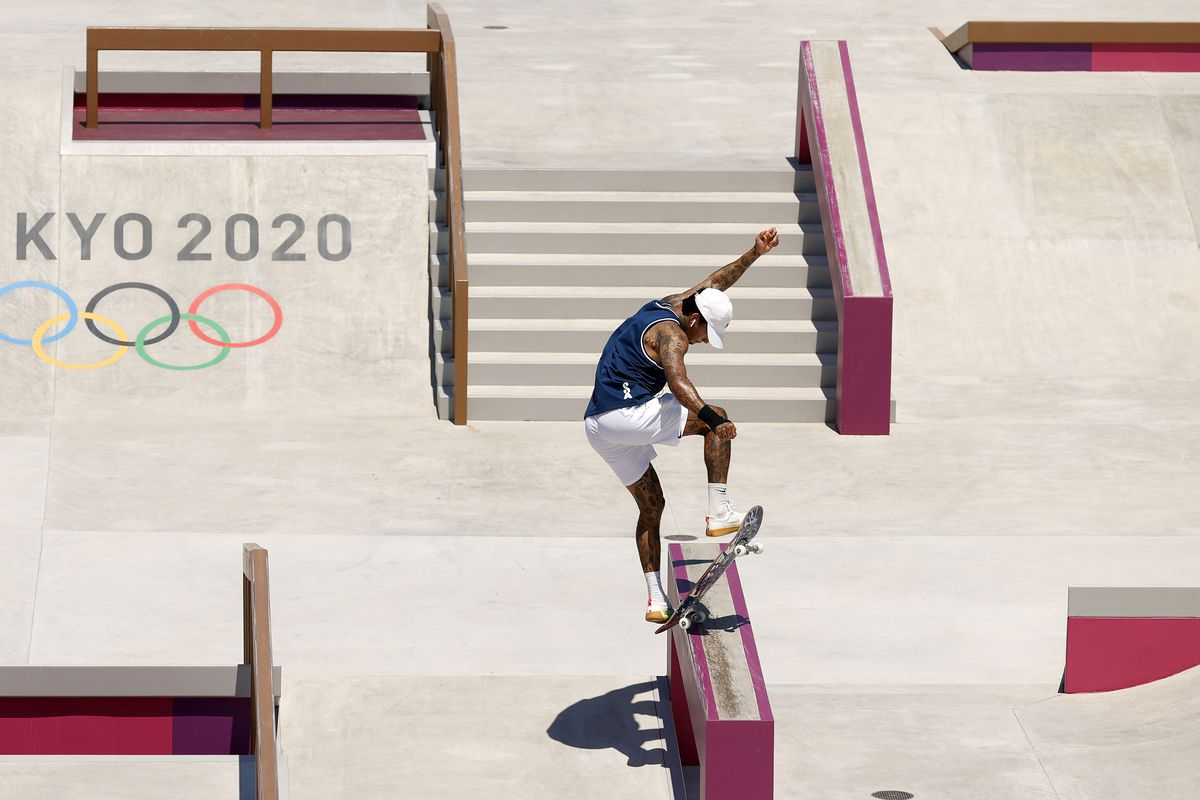 Nyjah Huston of Team United States practices on the skateboard street course ahead of the 2020 Tokyo Summer Olympic Games at the Ariake Urban Sports Park on July 22, 2021 in Tokyo, Japan.