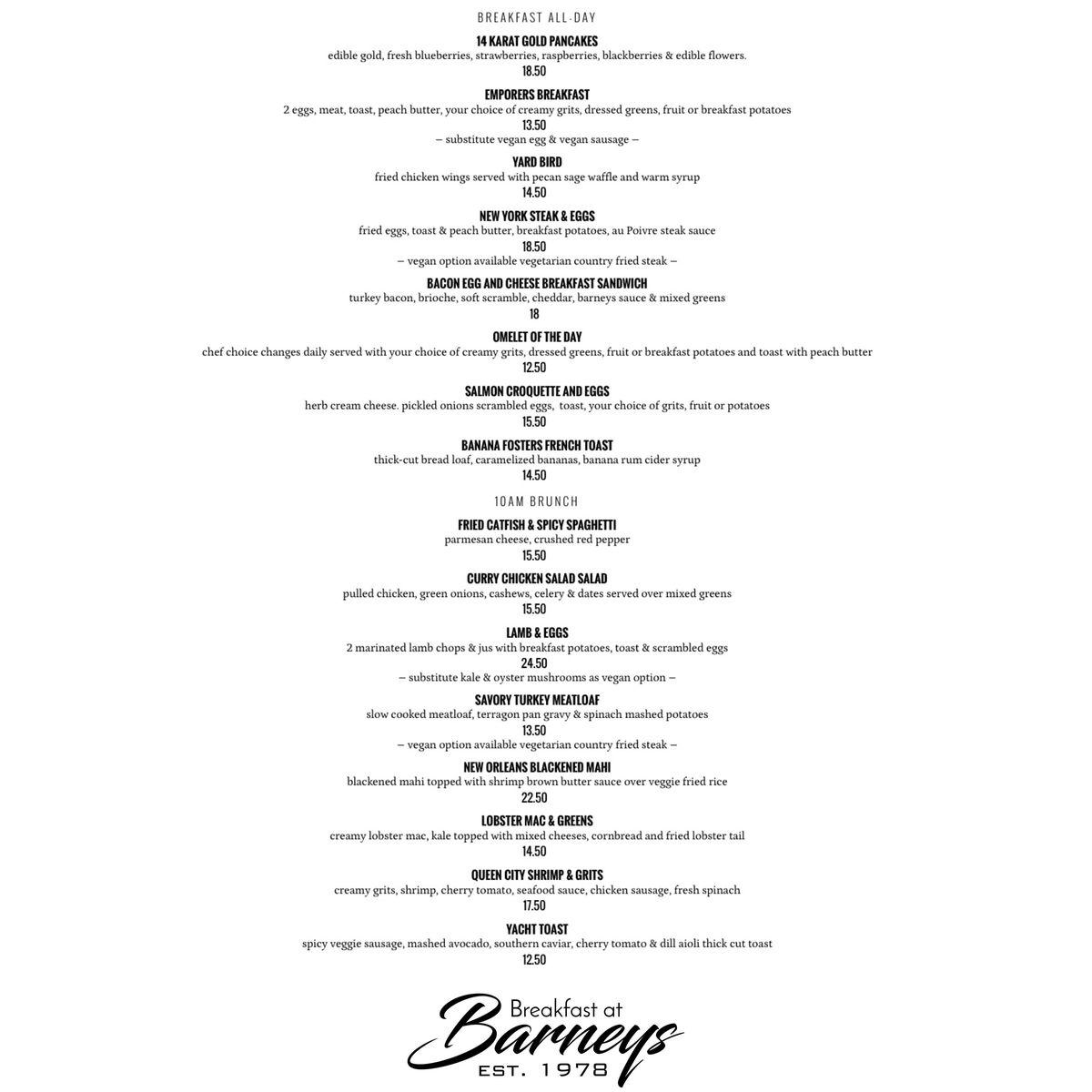 The breakfast menu for Breakfast at Barney in Atlanta