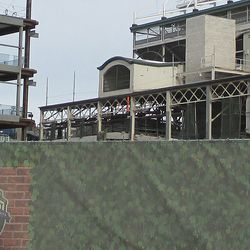 Wed 1/6: lattice steel at the northwest corner, now free of all scaffolding -