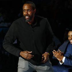 E.J, Harrison is announced during the UConn Huskies 1999 National Championship celebration.