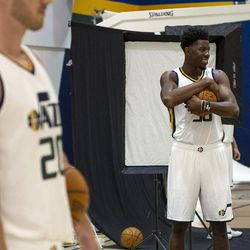 Utah Jazz center Henry Sims poses for a photographer during Media Day at Zions Bank Basketball Center in Salt Lake City on Monday, Sept. 26, 2016.