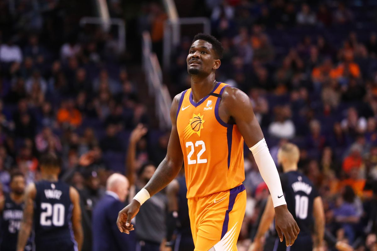 Phoenix Suns center Deandre Ayton reacts against the Orlando Magic in the second half at Talking Stick Resort Arena.