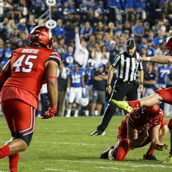 Utah Utes place kicker Matt Gay (97) makes a field goal, putting Utah up 3-0 over the Brigham Young Cougars, at LaVell Edwards Stadium in Provo on Saturday, Sept. 9, 2017.