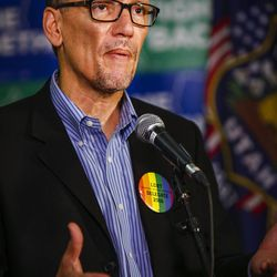 """Democratic National Committee Chairman Tom Perez speak during a press conference before the """"Come Together and Fight Back"""" tour at the Rail Event Center in Salt Lake City on Friday, April 21, 2017. About 3,000 people attended the rally."""