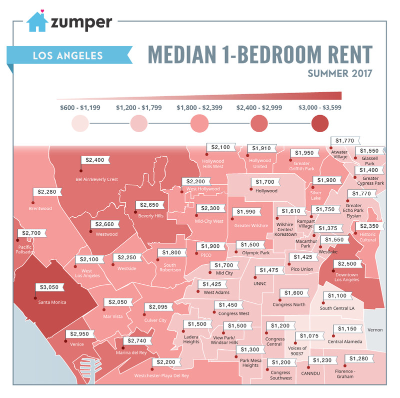 Map of rental prices around the city