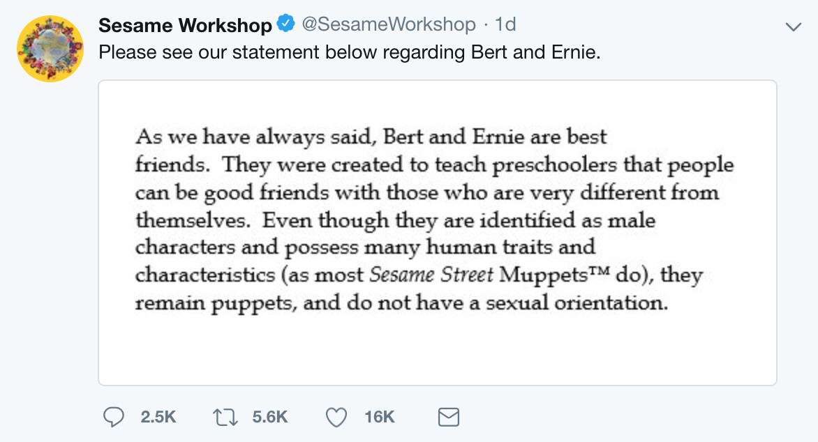 Why it matters that Bert and Ernie are gay, which they are - The Verge