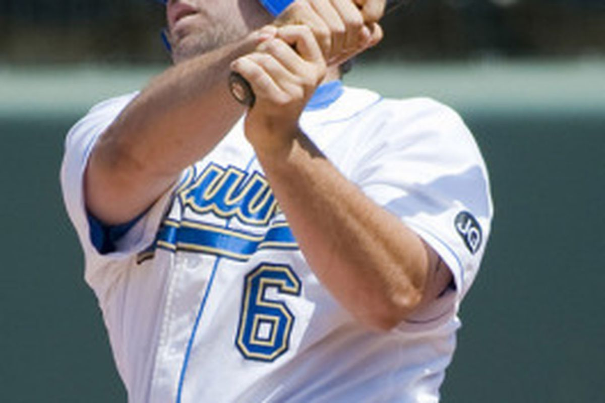 Cody Decker hit a game tying grand slam in the 7th inning, but the Bruins fell in 10 innings, 6-5