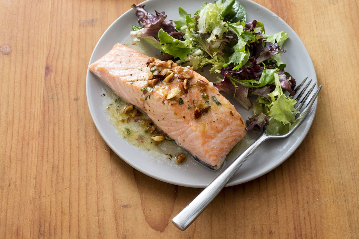Roasted salmon fillets are a great protein-rich option for lunch or dinner.
