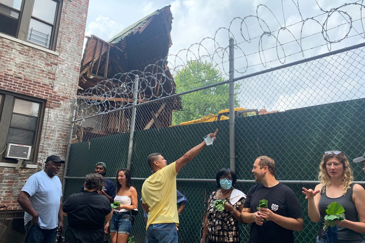 Prospect Lefferts Gardens residents around a Bedford Avenue lot are united against what they describe as a developer's unsafe demolition, July 10, 2021.