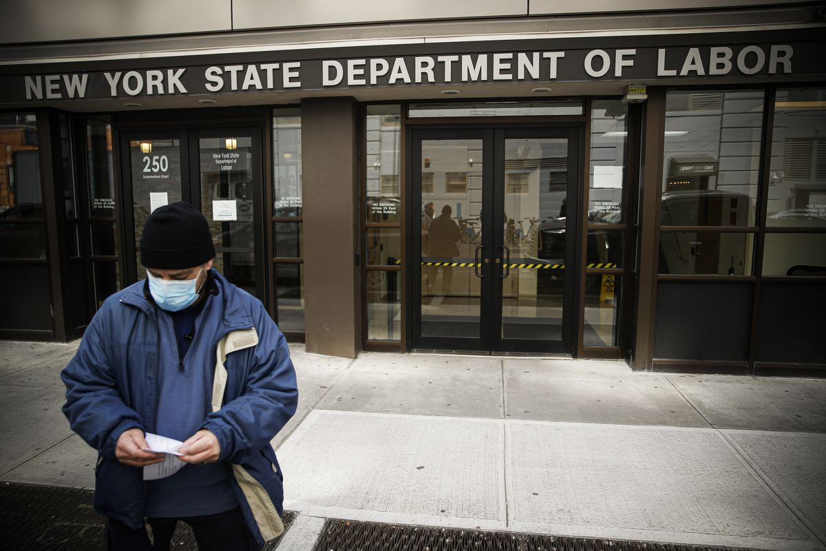Applications for unemployment benefits are surging in some states as coronavirus concerns shake the US economy.