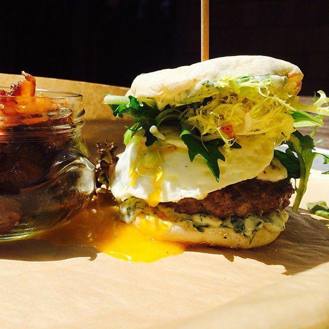 A breakfast sandwich from Banger's