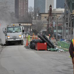 Street sweeping truck working on Waveland. Note the cloud created behind the truck
