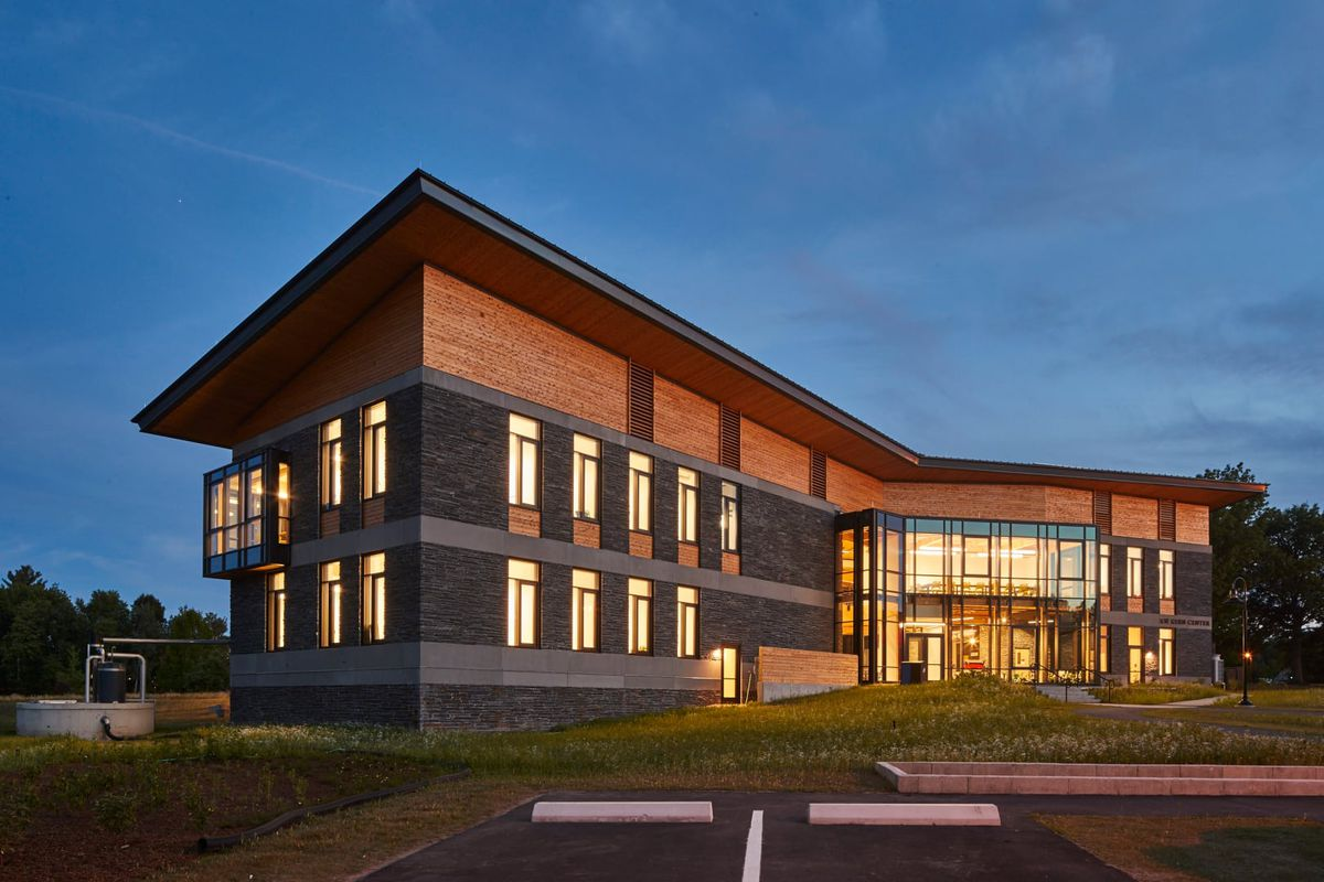 The R.W. Kern Center at Hampshire College in Amherst, Massachusetts, a net-zero-energy building.