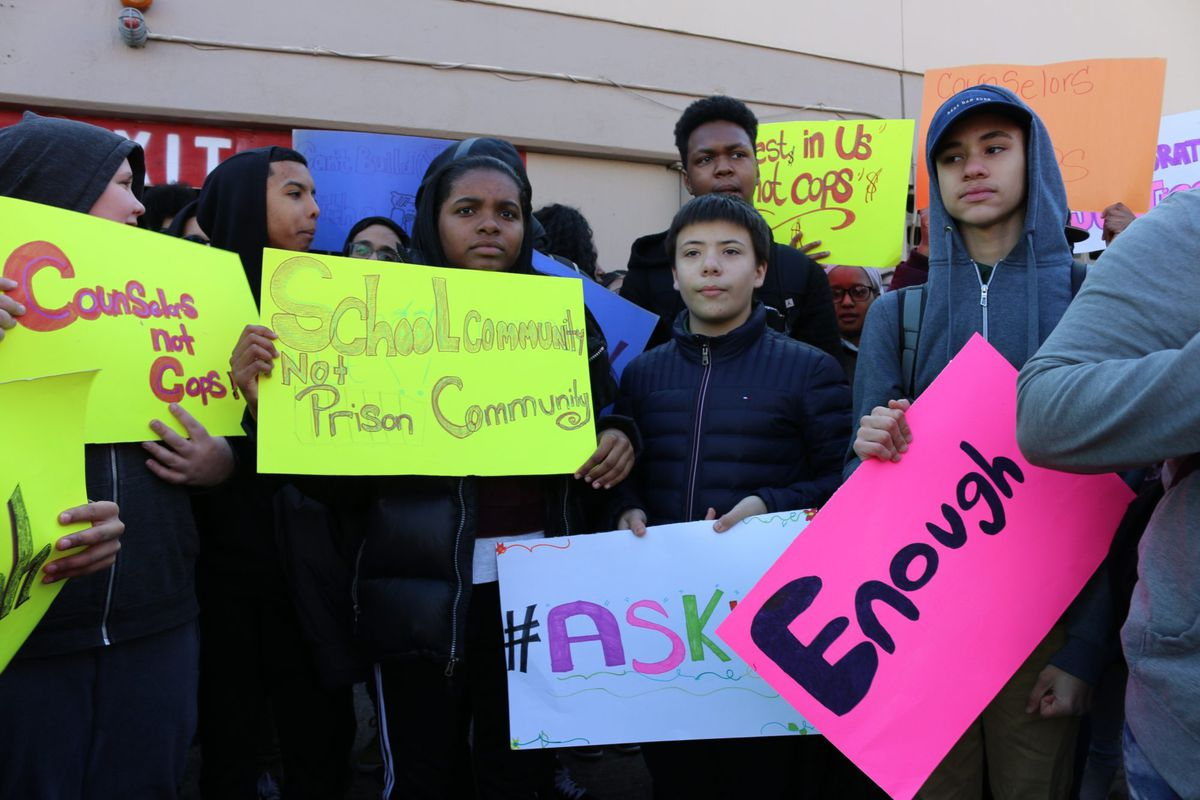Students from the Grace Dodge campus in the Bronx walked out of class on March 14, 2018, to call for more investment in mental health support and counselors.