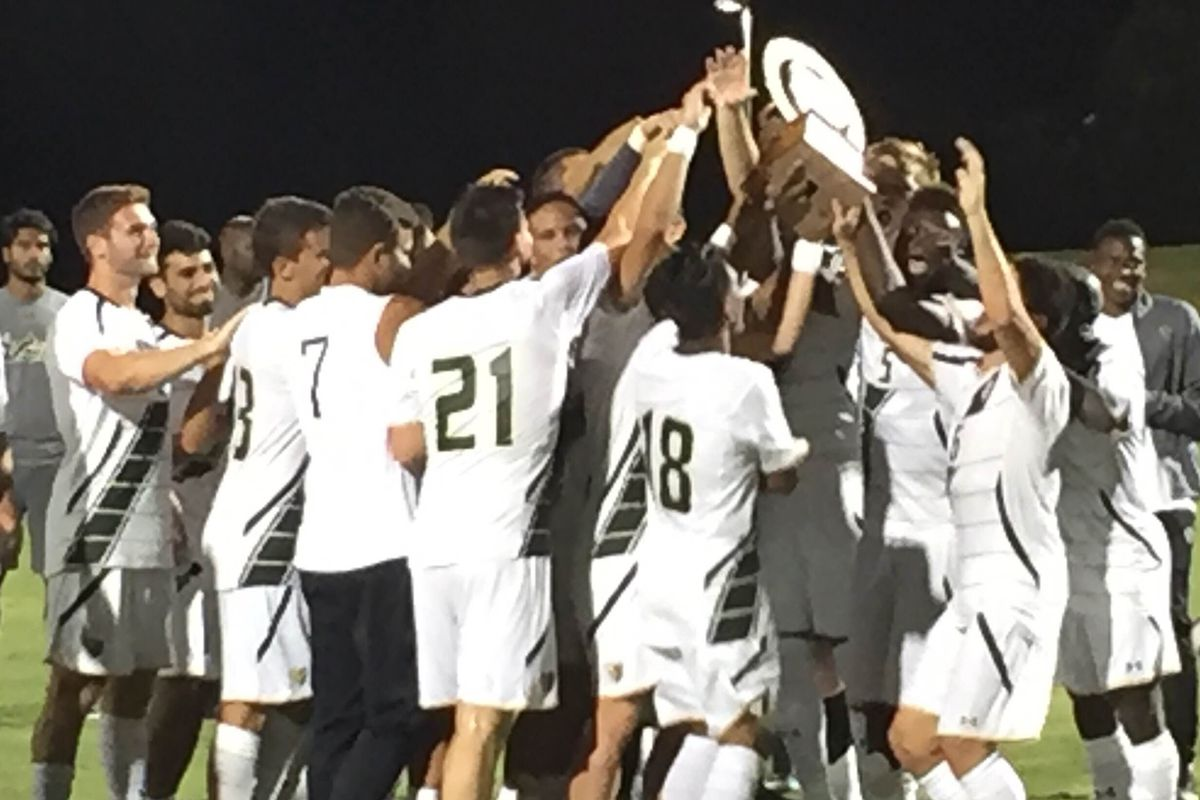 USF hoisting the Rowdies Cup, 2016