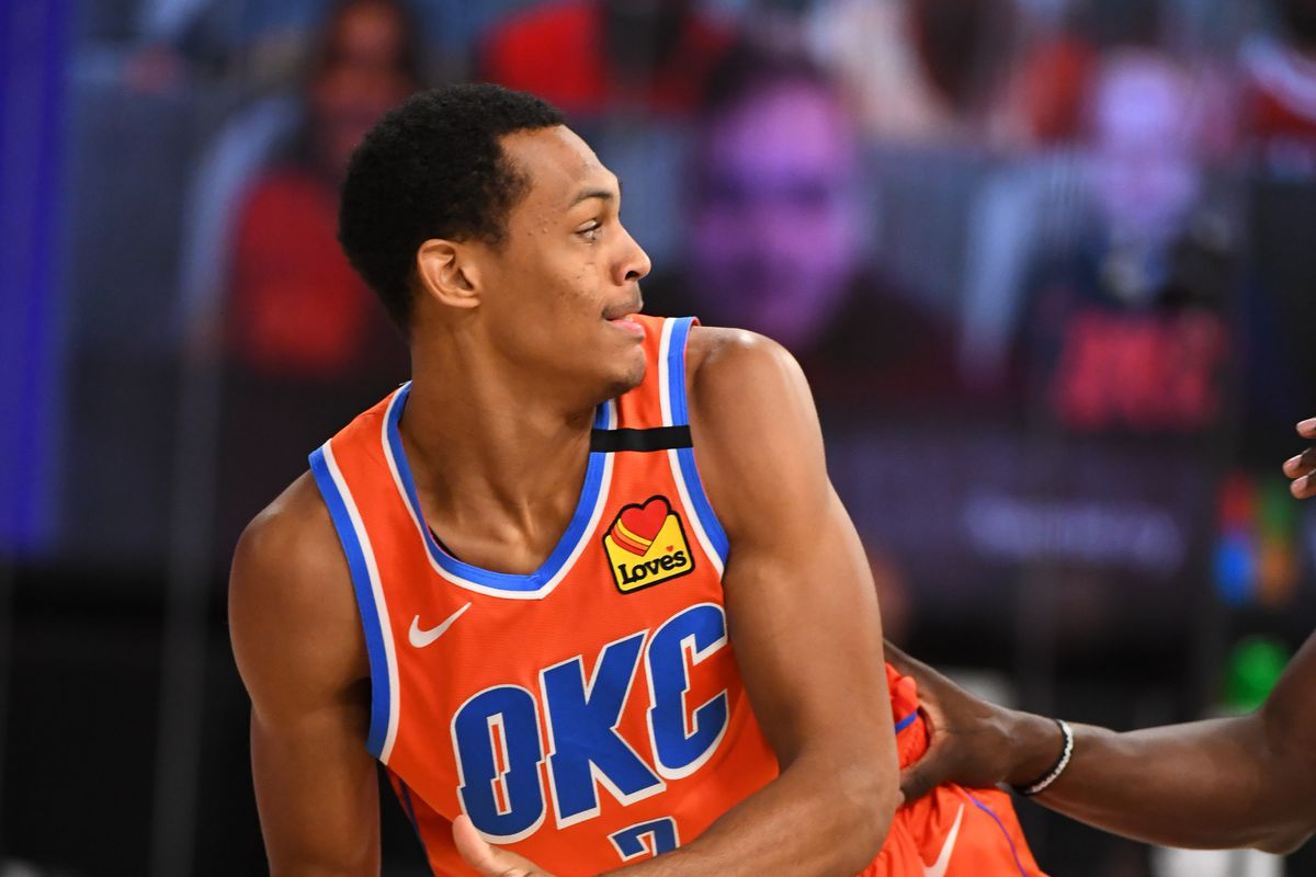 Darius Bazley of the Oklahoma City Thunder handles the ball during the game against the Houston Rockets during Round One, Game Five of the NBA Playoffs on August 29, 2020 in Orlando, Florida at The Field House.