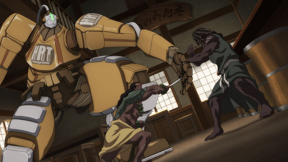 A giant mecha stands between Achoja and Yasuke's battle.