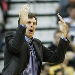 Rockets' Head Coach Kevin McHale calls for a timeout as the Jazz and the Rockets play Saturday, Nov. 2, 2013 in Energy Solutions arena.