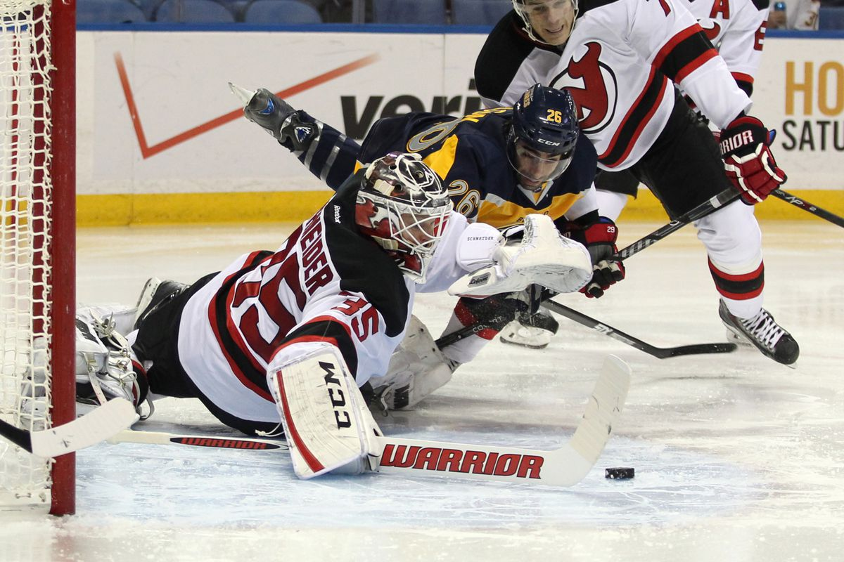 Pictured: Cory Schneider doing his job, which he did rather well tonight.