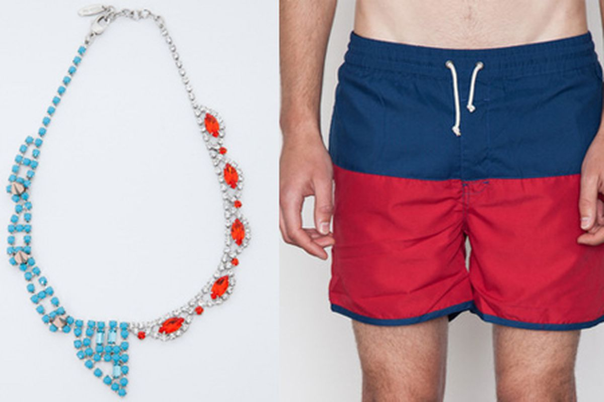 """Fourth of July Fun for Everyone: <strong>Joomi Lim</strong> Split Personality Necklace, <a href=""""http://www.shopacrimony.com/products/joomi-lim-split-personality-necklace"""">$452</a> and <strong>Lifetime Collective</strong> Jericho Swim Trunks, <a hre"""