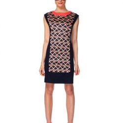 Sleeveless shift dress in two-way deco print ($39.99) and cap-toe wedges in melon.gold ($29.99, online exclusive).